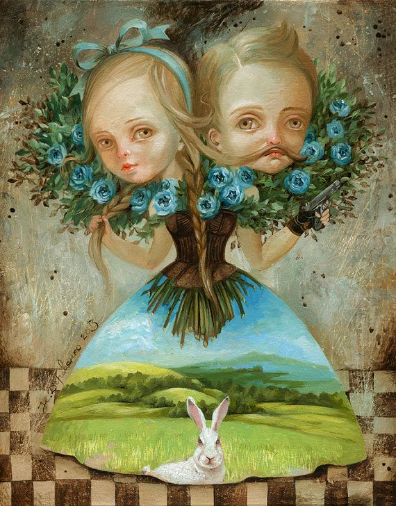 Virgo twins Canvas Print 11x11 decor poster picture от ArtFable Наталья Деревянко. Девоблизнецы, масло/холст.  http://derevyanko-art.com/