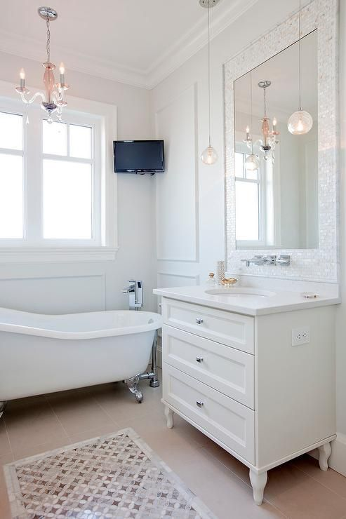 Mother Of Pearl Vanity Mirror Transitional Bathroom