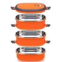 Square 1?2?3-Compartment Stainless Steel Food Container with Lid/Divided Plate/Bento Box/Lunch Tray with Cover, (2 Compartment, orange) by ieasycan