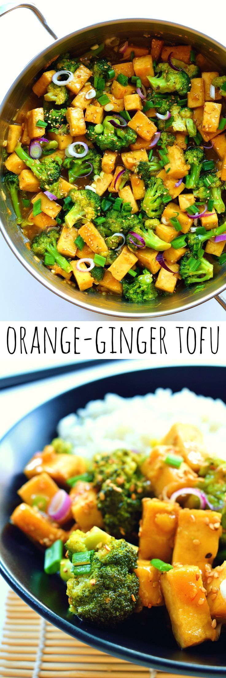 Orange- and ginger-glazed tofu with broccoli is a quick and easy 30-minute meal. Crispy tofu and steamed broccoli served in a sweet, sticky, ginger-y sauce makes for a filling vegetarian or vegan dinner.