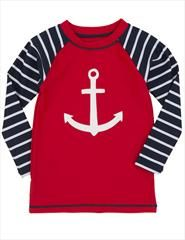 Awesome boys rash guard by Hatley. This nautical rash guard has a bright red base with black and white arms. It has a huge anchor on the body.