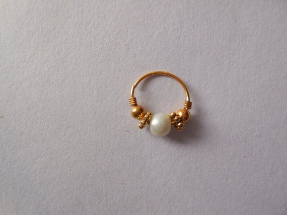 Very cute indian nosetrill. Small Size 13mm diameter Pearl Nose ring. Handmade nose jewel Hard find.