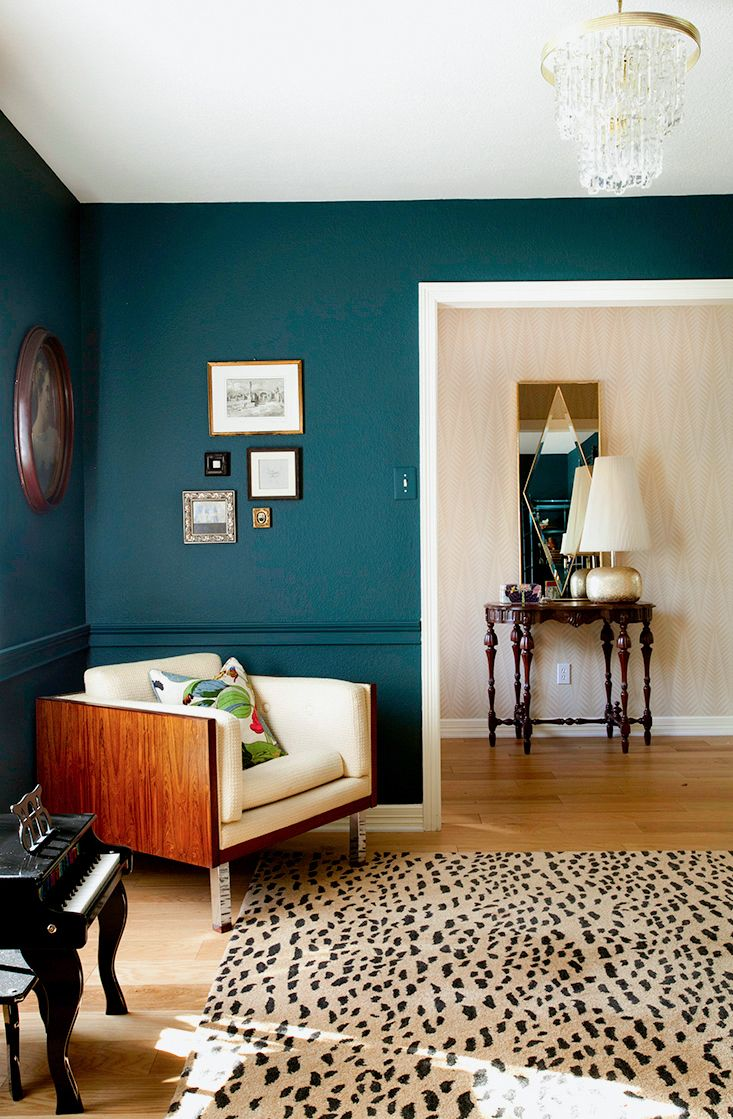 Paint colors for living room with dark floors - Benjamin Moore Dark Harbor Erin Williamson Design