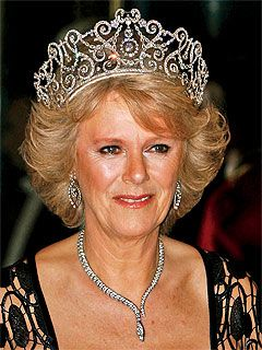 CAMILLA PARKER BOWLES  Six months after her marriage to Prince Charles in April 2005, Camilla Parker Bowles sported the towering headpiece (on loan from the Queen) for her first public appearance at a state banquet.