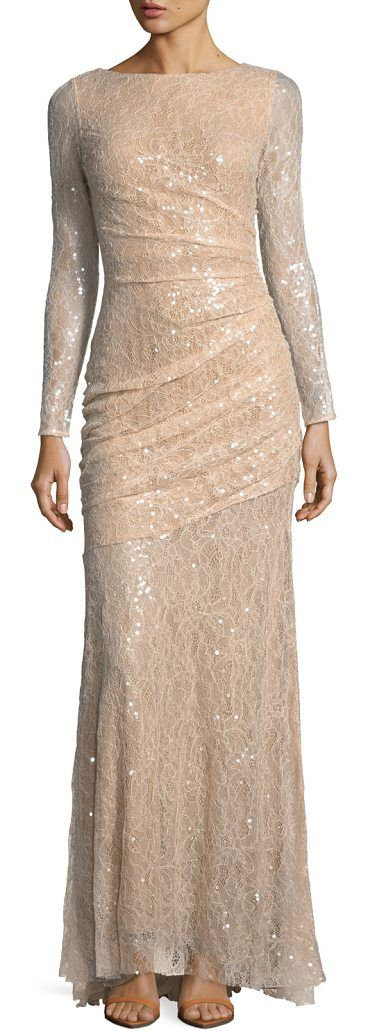 Long-Sleeve Lace Sequin Evening Gown by Carmen Marc Valvo. Carmen Marc Valvo evening gown in sequined lace with asymmetric ruching. High neckline. Long sleeves. Fitted silhouette. Hidden back zip. Floor-length hem. Polyester. Lining, nylon. Imported. #carmenmarcvalvo #dresses #gowns