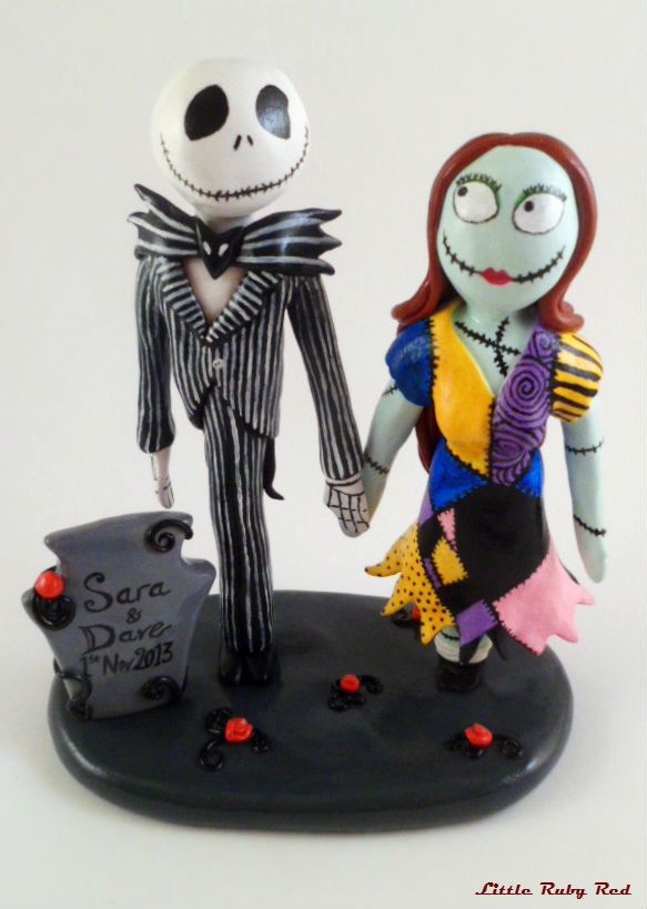 jack and sally wedding cake topper nightmare by littlerubyredshop halloween wedding. Black Bedroom Furniture Sets. Home Design Ideas