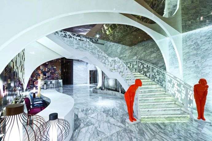 Futurist Club Interior Design with an Elegant Spiral Staircase by Panorama, China