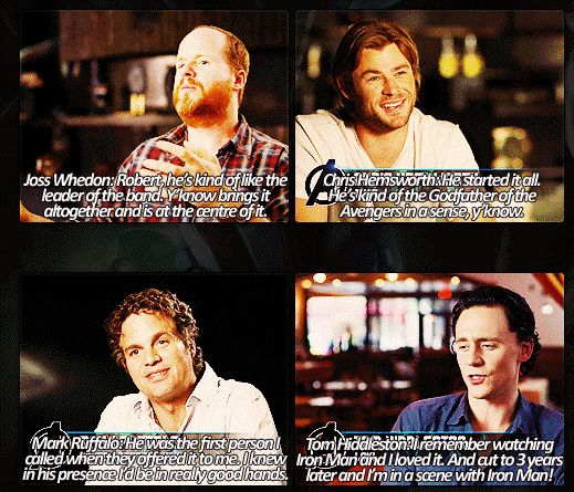 Joss, Chris, Mark, and Tom talking about Robert Downey Jr