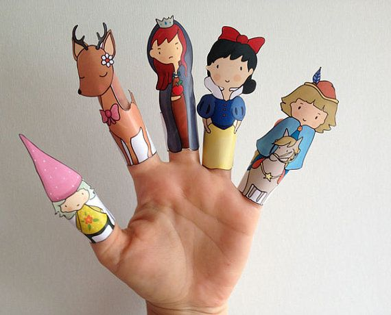 Snow White Hand Drawn Paper Finger Puppets By Curmilla, Printable PDF,snow,prince,witch,deer,dwarf