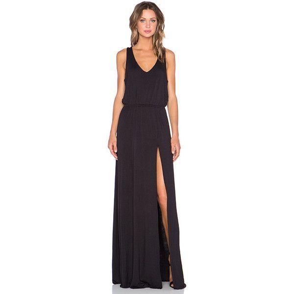Bella Luxx Open Back Maxi Dress Dresses ($145) ❤ liked on Polyvore featuring dresses, maxi dress, slit dress, bella luxx, drawstring waist dress and cutout maxi dress
