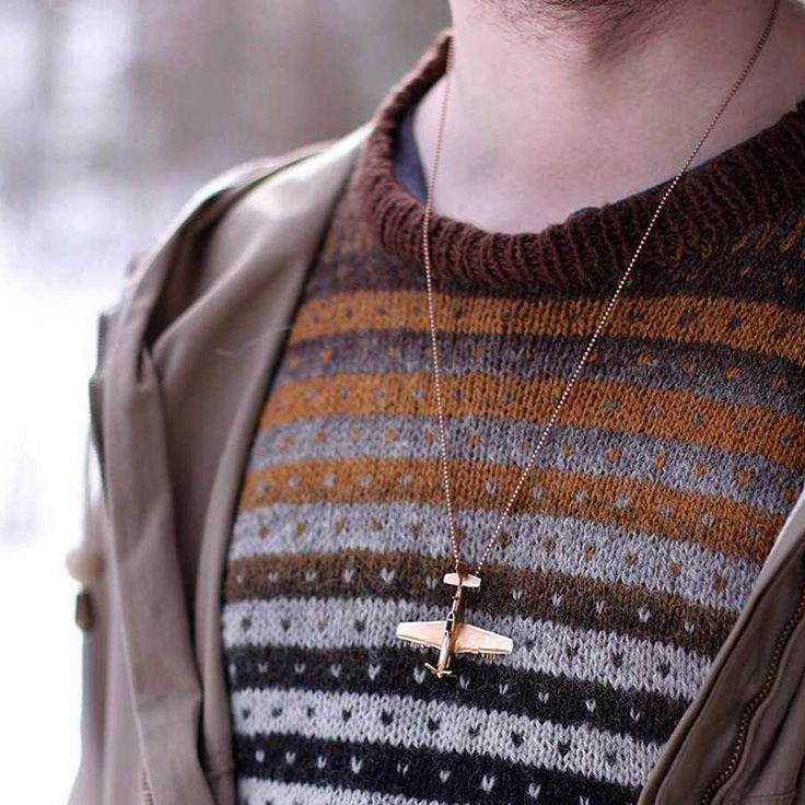 Einar wearing the P-51 in bronze. #jewellery #P51 #Mustang #charliefoxtrot