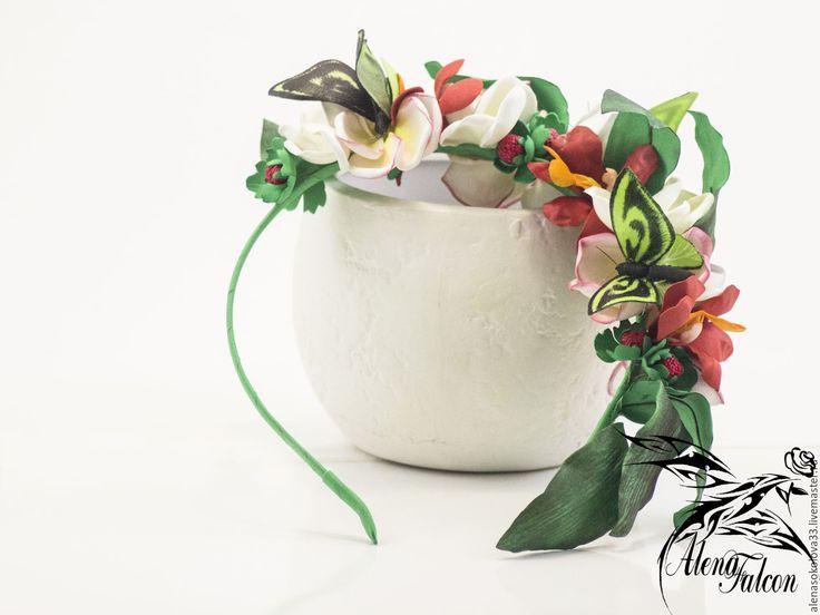Купить Ободок для волос тропические экзотические цветы бабочки - ободок для волос, ободок с цветами