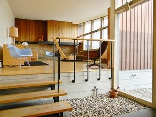 Pebble bed extends from outside | My Houzz: Original Drawings Guide a Midcentury Gem's Reinvention