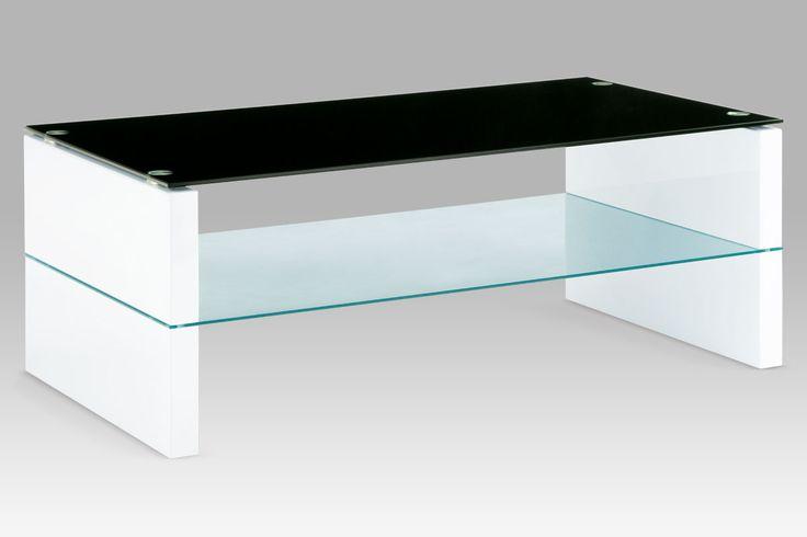 AHG-029 WT Konferenční stolek, vysoký lesk bílý / černé sklo. Police - čiré sklo 6 mm, deska - černé sklo 8 mm