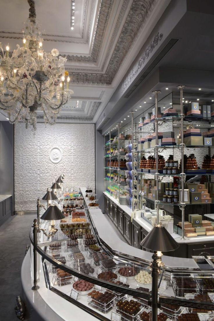 Laduree Chocolate Boutique in Paris .. complete with crystal chandelier!  ASPEN CREEK TRAVEL - karen@aspencreektravel.com