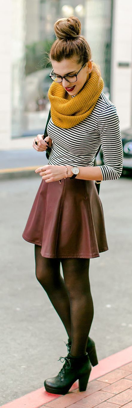 Mustard scarf - check, tights - check, black heels - check, striped quarter-length top - check, pleather plum skirt - MUST FIND.