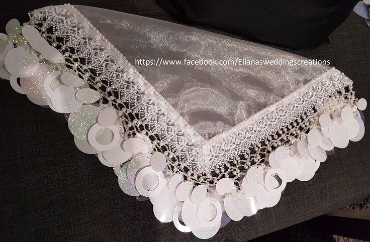 Vintage bride scarf (yalekhta) with lace. by yalekhtaandkopala on Etsy