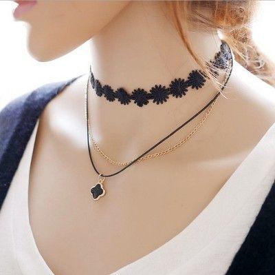 Korea Torques Multilayer Black Lace Flanelli Choker Short False Collar Chokers 3 Layers Black Lace Flowers Pendants Necklaces