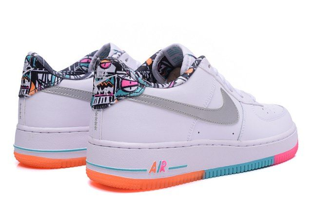 purchase cheap 3182a 8148e Nike Air Force 1 Low White Light Retro Total Orange Silver 596728 100  Womens Running Shoes