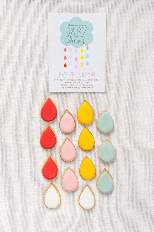 Play up the shower theme with rain-drop shaped cookies and décor elements.