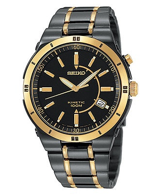 Seiko watch men 39 s kinetic stainless steel bracelet 39mm ska366 men 39 s watches jewelry for Movado kinetic