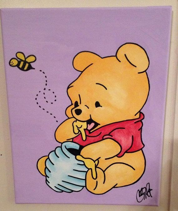 Winnie the Pooh Arylic on Canvas by TheWheelPrespective on Etsy Painting Ideas