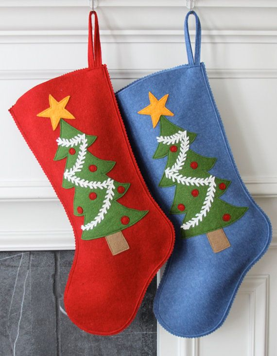 Handmade Wool Felt Christmas Stocking: Celebrate por MyPerennial