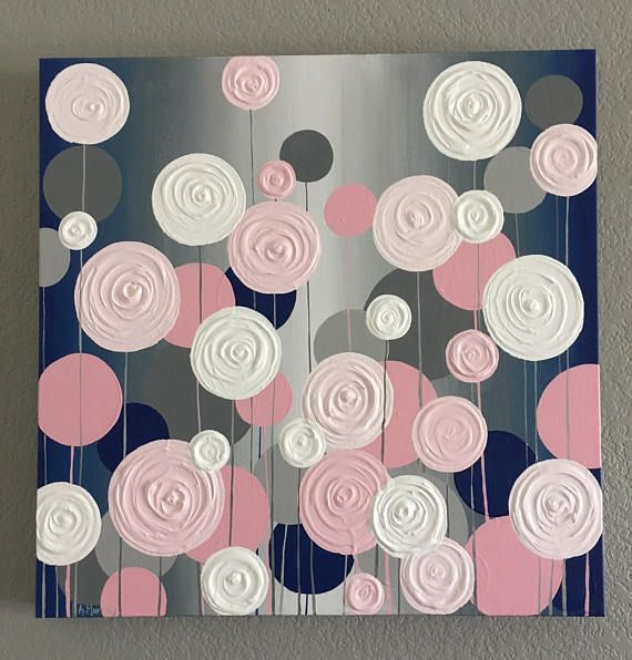Navy Blue and Pink Nursery Art, Textured Painting, Abstract Flowers, Painting on Canvas, select a size