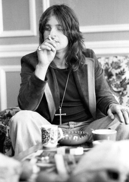 "classicrocktunes: "" Ozzy Osbourne being interviewed in 1975 in London. (photographed by Ian Dickson) """