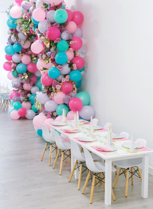 This Unicorn Themed 1st Birthday Party Is Definitely The Stuff Of Dreams Unicorn Food Decor Birthday Party Tables Unicorn Theme Party Fairy Birthday Party