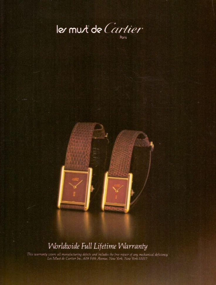 1980 Les Must De Cartier Paris Watch Print Ad Vintage Advertisement VTG 80s | eBay