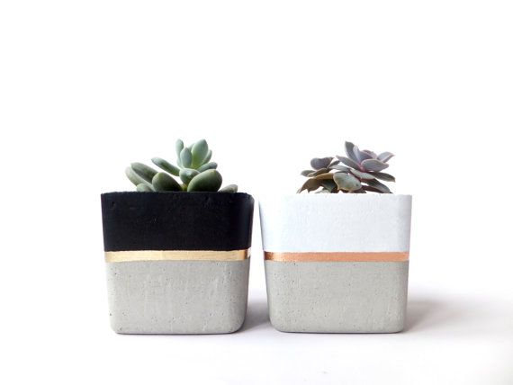 Square Concrete Small Planter for Succulent Gray Black White Industrial modern concrete Home Decor