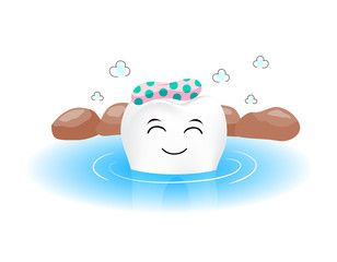 Cute tooth character in hot spring. Onsen, Japanes…