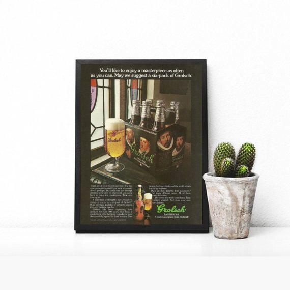Grolsch Beer Pub Photo  Six Pack of Beer  London Pub Theme  Foaming Beer  Man Cave Pub Art  Manly Beer Decor  Bar Print Wet Bar Decor by RetroPapers