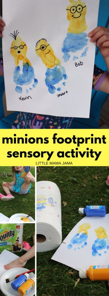 This Minions Footprint Sensory Activity is perfect for the Despicable Me fan in your life! #QuickerPickerUpper #DespicableMe3 #ad