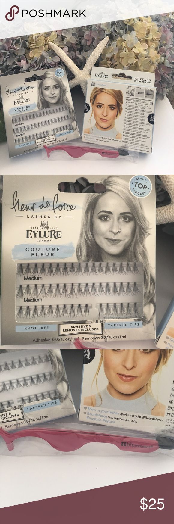 """EYLURE LONDON Individual Lashes with lash tool EYLURE teamed up with Fleur de Force ( love her) and brought us """"Couture Fleur"""". This is a selection of tapered tip flares for an easy custom-lash look. Can be applied sparsely to accentuate or piled on for drama. Set comes with 2 boxes of lashes ( glue included), and a BH Cosmetics lash applicator tool. Enjoy  EYLURE LONDON Makeup False Eyelashes"""