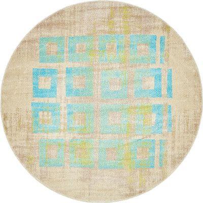 Zipcode Design Lesa Blue Area Rug Rug Size: Round 6'