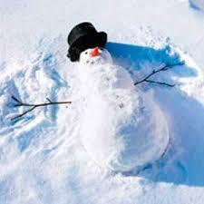 Snowman making a snow angel.