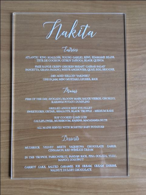 A Stunning Wedding menu made from 3mm clear acrylic/perspex.