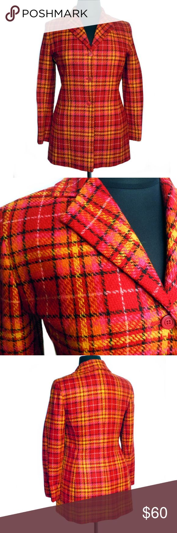 """RENA ROWAN Women's Wool Plaid Jacket Size 12 This is a women's coat or jacket from Rena Rowan. Size 12. NWT. It is made of Woolmark new Wool and has an acetate satin lining. Dry clean. It is a bright red, orange, yellow, and black plaid called """"Fiesta"""". Red lining. Red buttons. It has a classic collar and princess seams for a nice shape. Extra button included. This can look current or retro depending on what you pair it with. Always looks great with black pants and boots. Bust 42"""". Waist…"""