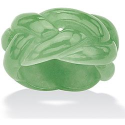 Braided design ring Solid green jade jewelry