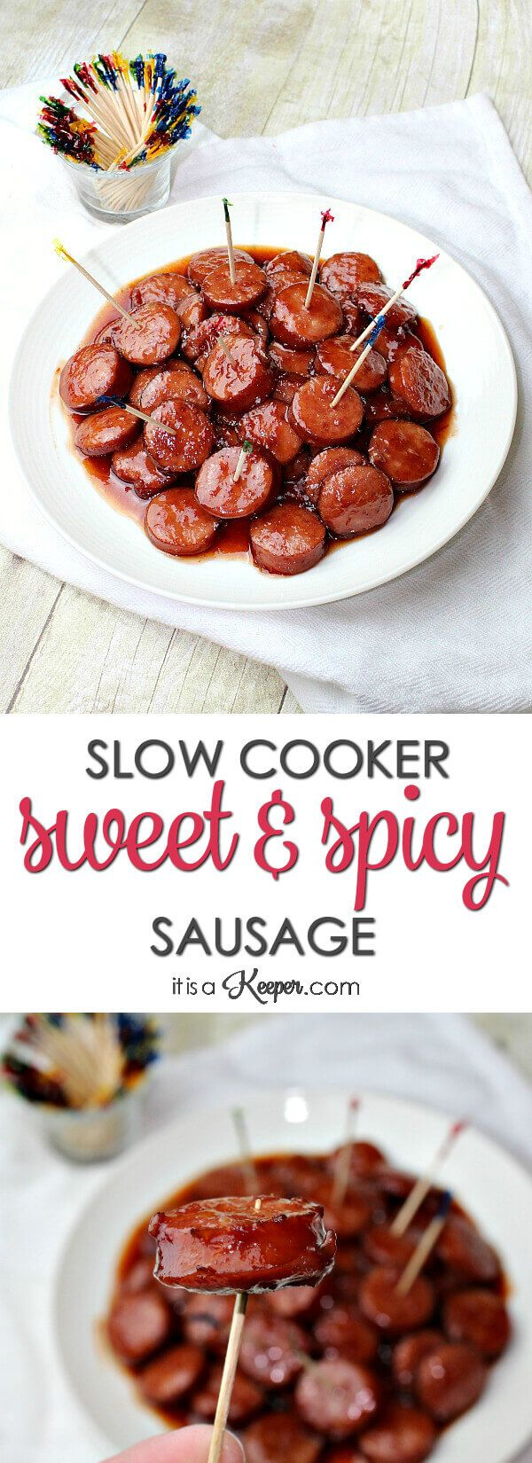 Slow Cooker Sweet and Spicy Sausage - this easy recipe is  perfect for any party - especially game day. It will quickly become one of your favorite easy crock pot recipes
