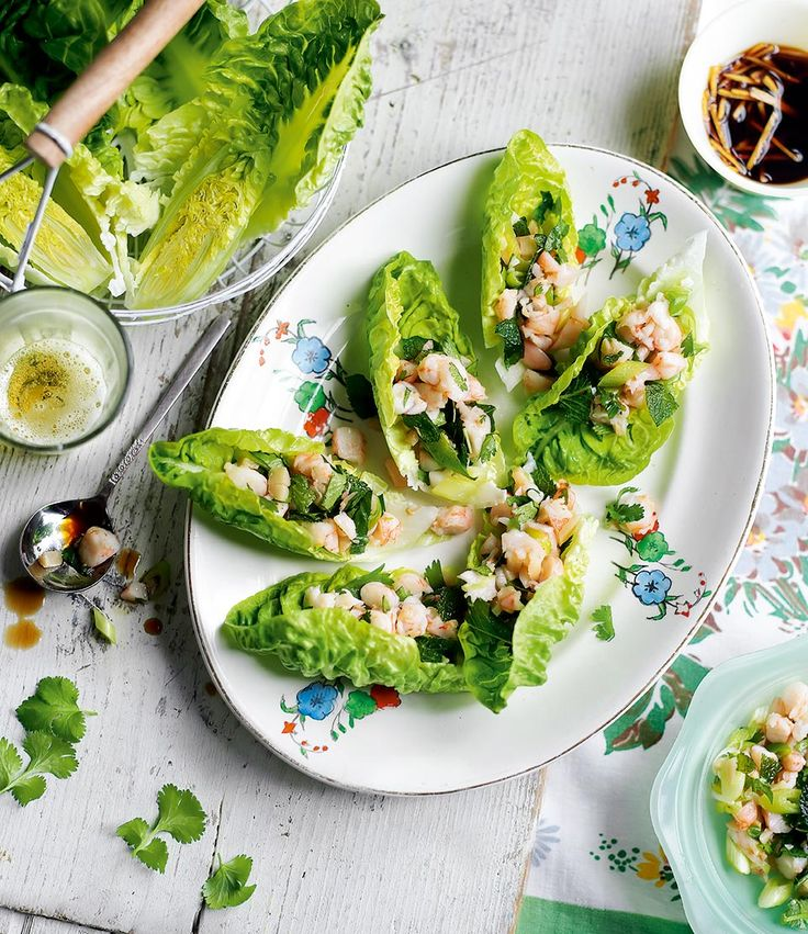 These delicate Chinese-inspired prawn and herb lettuce cups make an elegant starter or nibble with drinks.