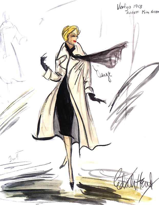 Illustration - Edith Head sketch for Kim Novak in Vertigo, 1958