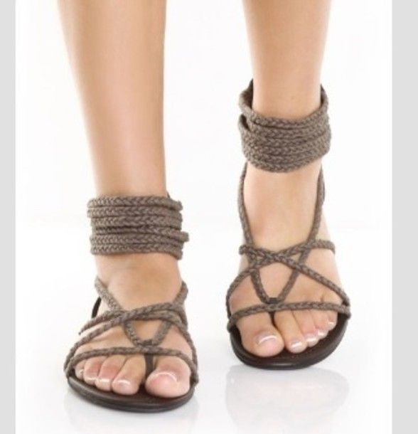 Shoes: sandals, holidays, brown shoes, open toes, rope, summer shoes, beach, beach sandals, womens shoes, hipster, country, hippie, tribal pattern, hippie, hippie chic, hippie shoes, strapse, strappy sandals, grey, flat sandals - Wheretoget