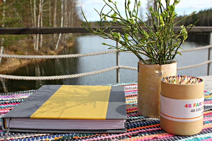 Handmade guestbook of Jalolautta #vieraskirja #guestbook #kirjansidonta #värikynät #mustikka #saunalautta #blåbär