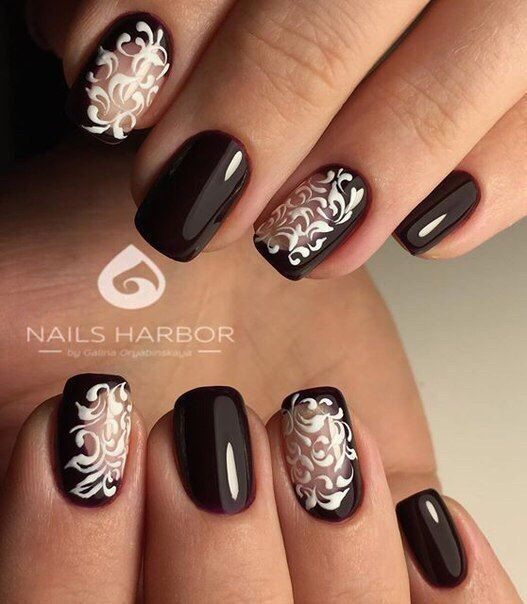 Beautiful autumn nails, Brown nails, Brown shellac, Dark brown nails, Evening nails, Evening short nails, Fall nails ideas, Fall short nails