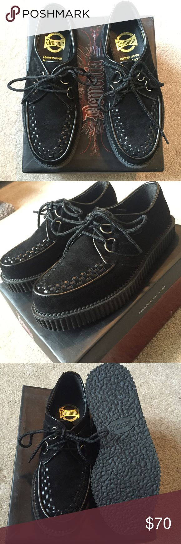 Demonia genuine suede creepers These creepers are in perfect condition, and have only been worn once. Will be shipped in original packaging. demonia Shoes Platforms