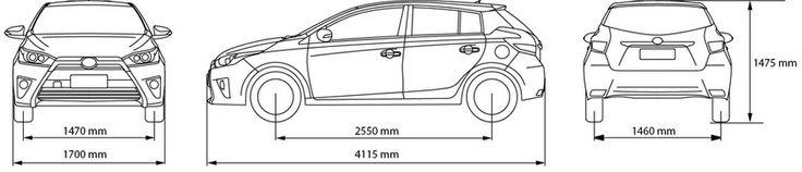 THÔNG SỐ KỸ THUẬT XE YARIS 2014 Kích thướcD x R x Cmm x mm x mm 4115 x 1700 x 14754115 x 1700 x 1475 Chiều dài cơ sởmm 25502550 Khoảng sáng gầm xemm 149149 Bán kính vòng quay tối thiểum 5,15,1 Trọng lượng không tảikg 1050 - 10651040 - 1055 Trọng lượng toàn tảikg 150015000 Động cơLoại động cơ 4 xy lanh thẳng hàng, VVT-i4 xy lanh thẳng hàng,