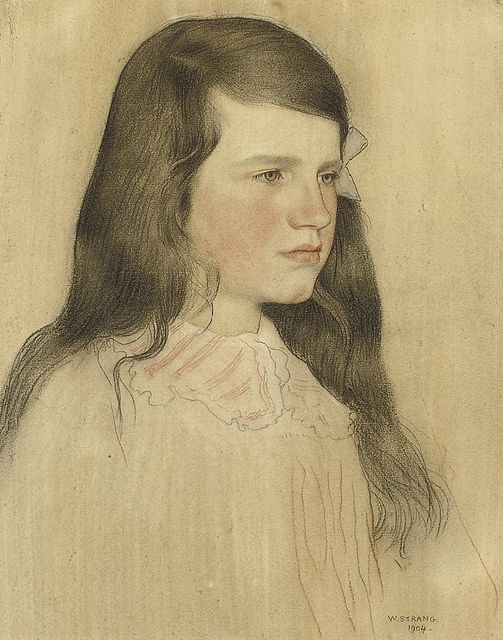 """Portrait of a Young Girl"" by William Strang"
